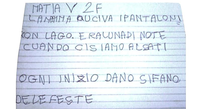 testo redatto scritto da un bambino DSA con spiccato disturbo disortografico